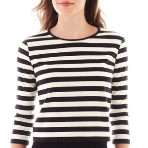 MNG by Mango Striped 3 Quarter Sleeve Crop Top XL
